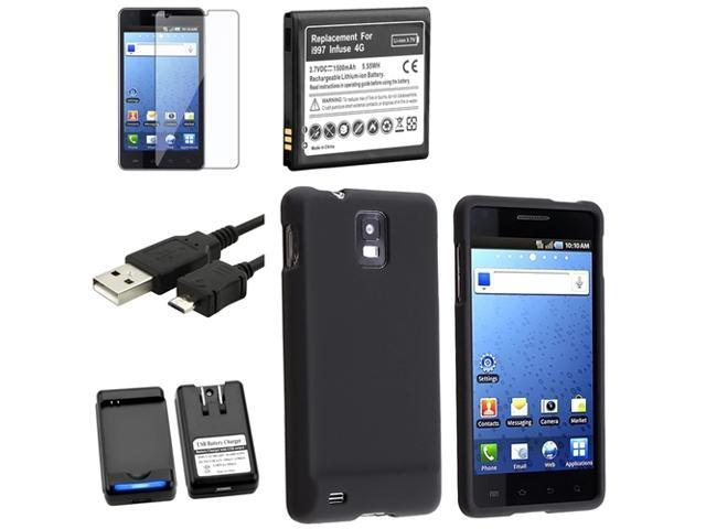 Insten Black 5x Accessory Bundle Case Battery Screen Protector USB Compatible ith Samsung Infuse I997 4G 648163