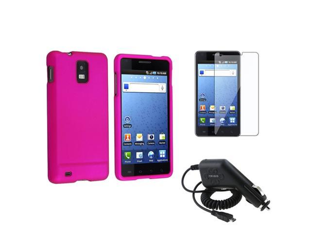 Pink Rubber Hard Guard Case+LCD Protector Film+DC Charger compatible with Samsung© Infuse 4G