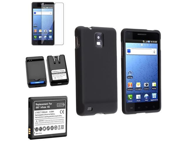 BLACK Soft Case+Battery+Car Charger+Screen Protector compatible with Samsung© Infuse i997 4G