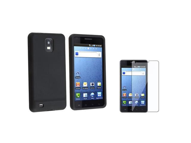 Black Silicone Rubber Soft Skin Case Cover+LCD SP compatible with Samsung© Infuse 4G i997