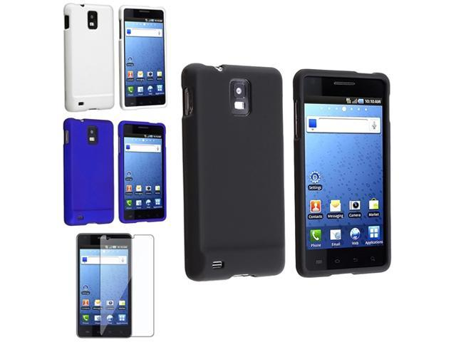 4 Black+White+Dark Blue Snap On Case+LCD Film Protector compatible with Samsung© Infuse 4G