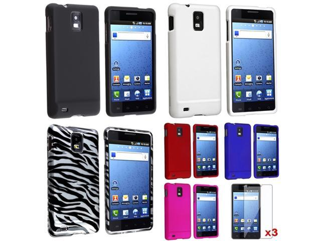 6x Hard Rubberized Case+Protector compatible with Samsung© Infuse 4G
