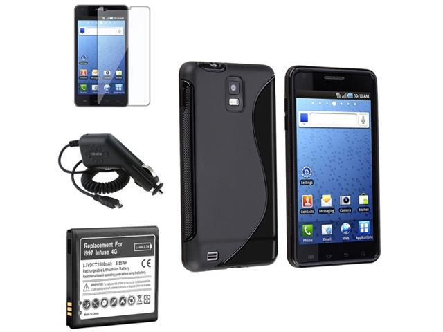 Insten Black Skin Case+Battery+Charger+SP Compatible with Samsung Infuse I997 4G 648217