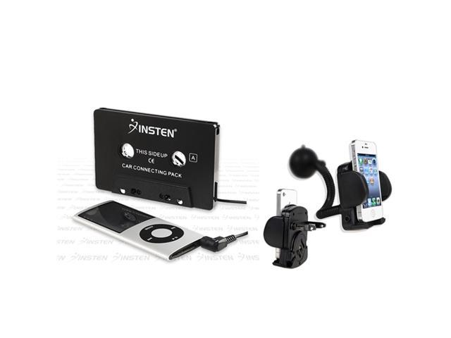 Insten Car Cassette+Holder compatible with iPhone® 4 4S iPod® nano® 6G