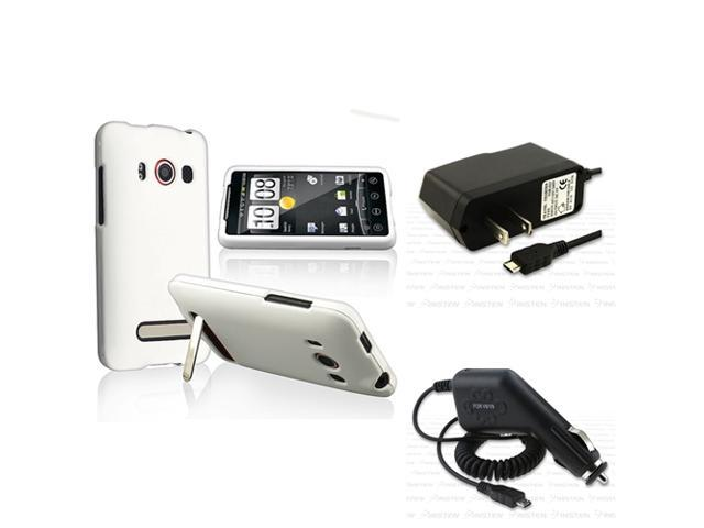 compatible with HTC EVO 4G White Hard Case+INSTEN Car+Wall Charger
