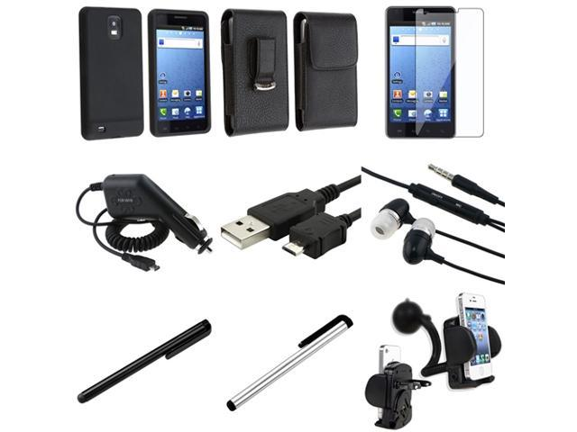 9pc Accessory Bundle Case SP Stylus Charger USB Cable compatible with Samsung© Infuse 4G i997