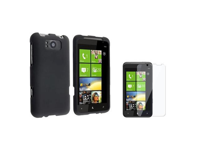 Black Snap on Rubberized Case compatible with HTC Titan, Bonus Clear LCD Screen Protector Included