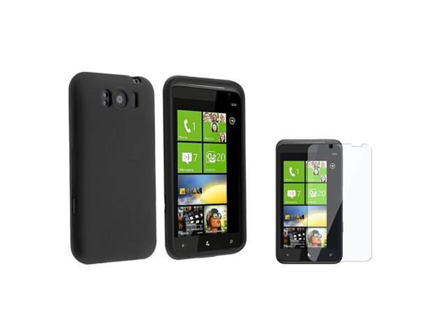 Black Silicone Skin Case compatible with HTC Titan, Bonus Clear LCD Screen Protector Included
