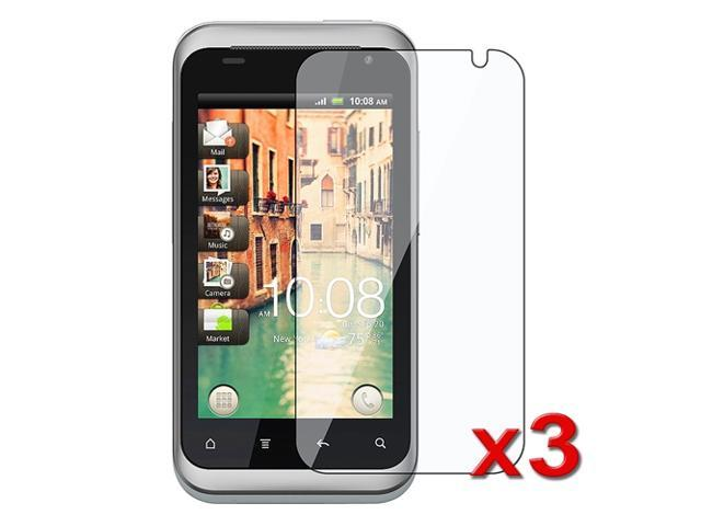 Three Clear Screen Protectors with Lint-free Cleaning Cloth compatible with HTC Rhyme