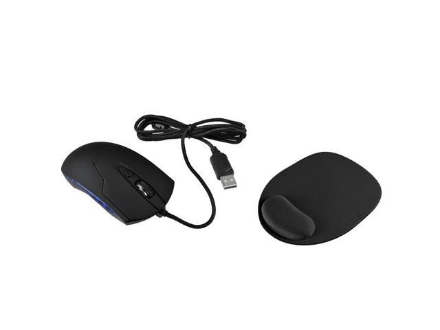 eForCity Black USB Optical Blue LED Wired Game Mouse Free With Wrist Comfortable Mouse Pad