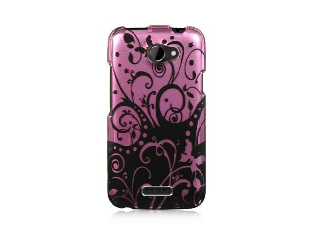 HTC One X Case, eForCity Rubberized Hard Snap-in Case Cover Compatible With HTC One X, Purple/Black