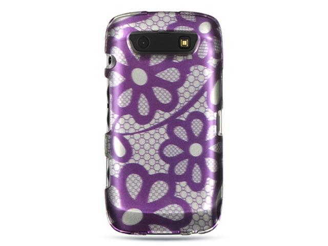 BlackBerry Torch 9850/9860 Case, eForCity Rubberized Hard Snap-in Case Cover Compatible With BlackBerry Torch 9850/9860, Purple/White