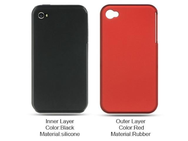 Apple iPhone 4 Case, eForCity Dual Layer [Shock Absorbing] Protection Hybrid eForCity Rubberized Hard PC/Silicone Case Cover Compatible With Apple iPhone 4, Red/Black