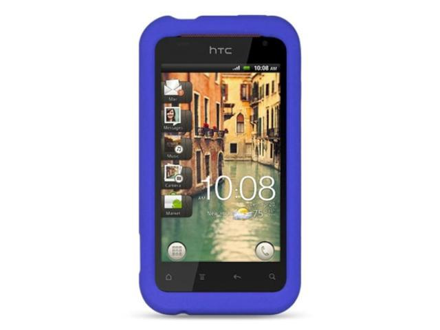 HTC Rhyme / Bliss Case, eForCity Rubber Silicone Soft Skin Gel Case Cover Compatible With HTC Rhyme / Bliss, Blue