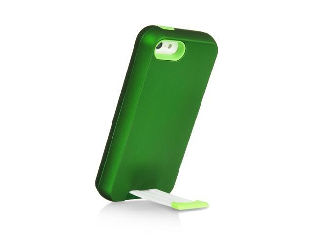 Apple iPhone 5/5S Case, eForCity Dual Layer [Shock Absorbing] Protection Hybrid Stand eForCity Rubberized Hard PC/Silicone Case Cover Compatible With Apple iPhone 5/5S, Green