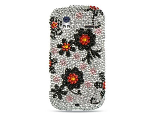 HTC Amaze 4G Case, eForCity Rhinestone Diamond Bling Hard Snap-in Case Cover Compatible With HTC Amaze 4G, Silver/Black
