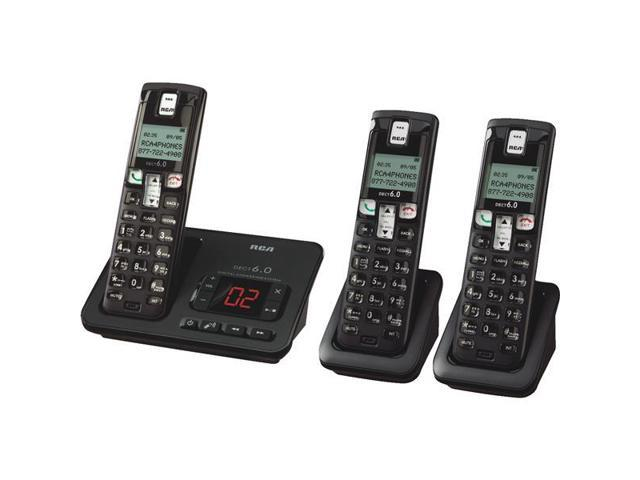 RCA 2162-3BKGA Element Series DECT 6.0 Cordless Phone with Caller ID & Digital Answering System (3-Handset System)