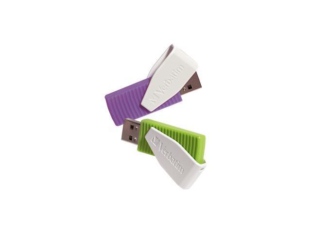 Verbatim 16GB Store 'n' Go Swivel USB Drive 16GB 2PK - Green/Violet Model 98425