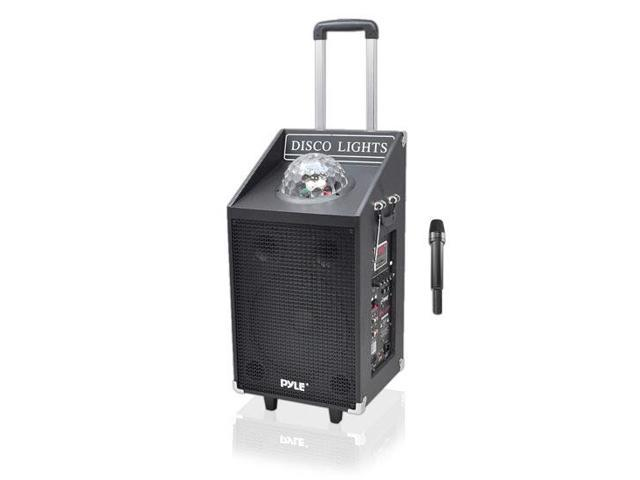 Pyle 600 Watt Bluetooth Battery Powered Portable PA Speaker System w/ USB/SD Readers, FM Radio, AUX Input, Wireless Microphone and Flashing Lights