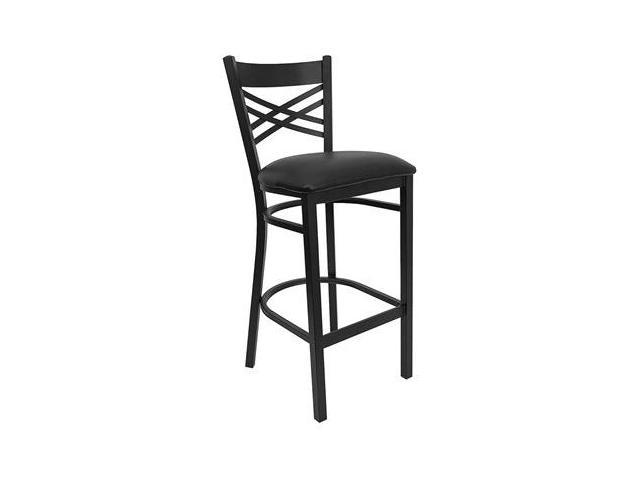 Flash Furniture HERCULES Series Black ''X'' Back Metal Restaurant Bar Stool with Black Vinyl Seat [XU-6F8BXBK-BAR-BLKV-GG]