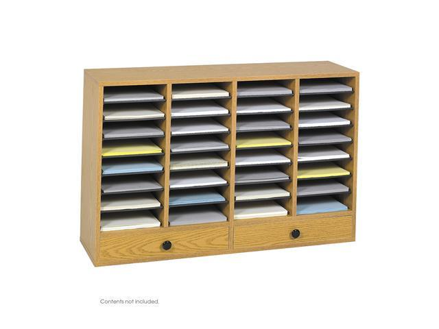 Safco 9494MO Wood Adjustable Literature Organizer, 32 Compartment w. Drawer 39 1/4
