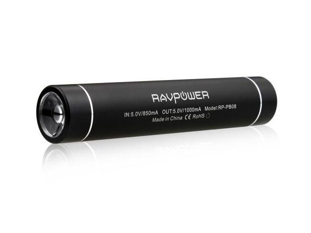 RAVPower® RP-PB08 Slim Power Bank (2600mAh/1A Output) w/ Built-in Flashlight, for Smartphone&Tablet:iPad 4, iPad Mini, iPhone ...