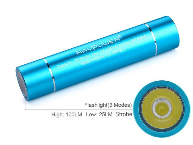 RAVPower Luster 3000mAh External Battery Pack Lipstick Charger with Flashlight (3 Mode: High, Low, Strobe) for iPhone 5 5S 5C 4 4S, iPod; Galaxy S4 S3, Note 3, Note2; Nexus 4 and other Mobile Devices
