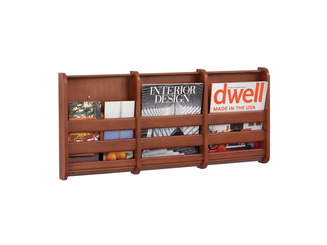 Bamboo Magazine Wall Rack 3 pocket in Cherry by Safco