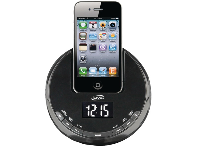 ilive icp101b iphone am fm alarm clock radio sphere with. Black Bedroom Furniture Sets. Home Design Ideas