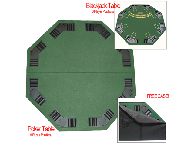 Deluxe Poker & Blackjack Table Top w/ Case