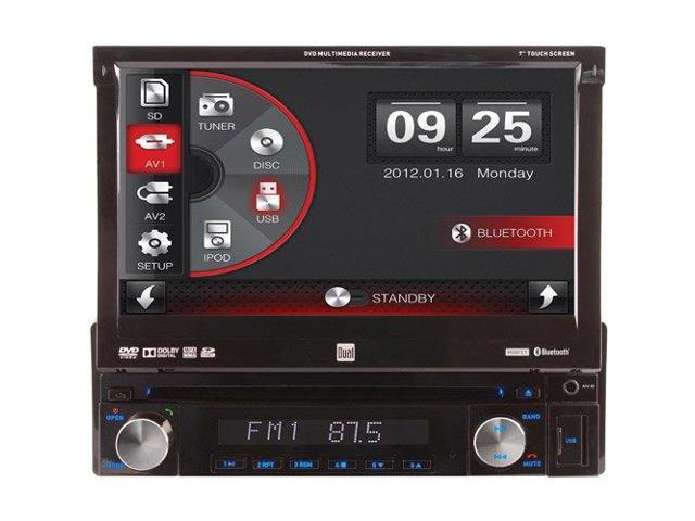 Dual XDVD110BT 7 Single-Din In-Dash Dvd Receiver With Motorized Touchscreen & Built-In Bluetooth