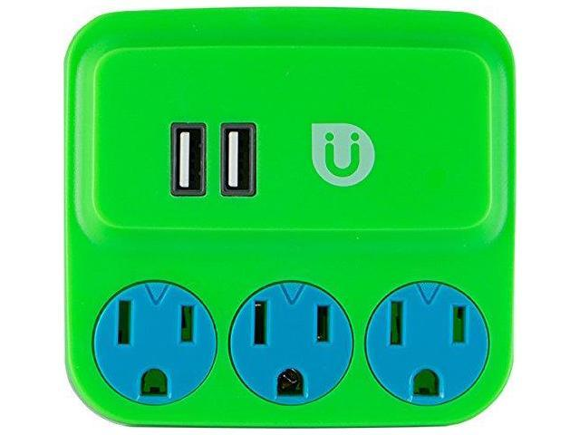 GE 25113 Uber(TM) 3-Outlet Power Tap with 2 USB Ports (Green & Blue)