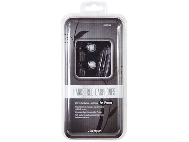 Link Depot Black 3.5mm Hands Free Earphones With Microphone LD-HDS-BLK