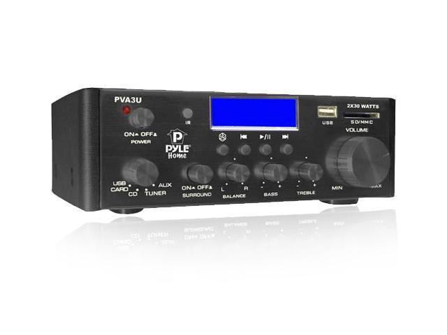 Pyle PVA3U 60 Watts Hi-Fi Mini Amplifier with USB/SD Card Player