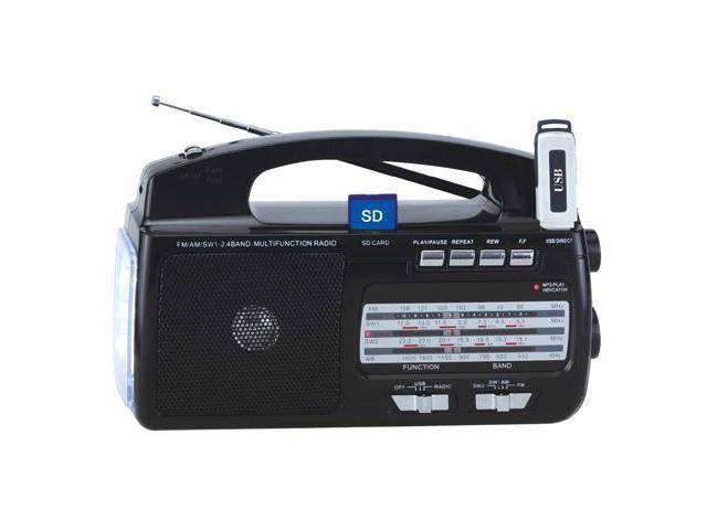 Portable Mini AM FM MP3 4 Bands Weather Radio w/USB & SD Input & Torch Light