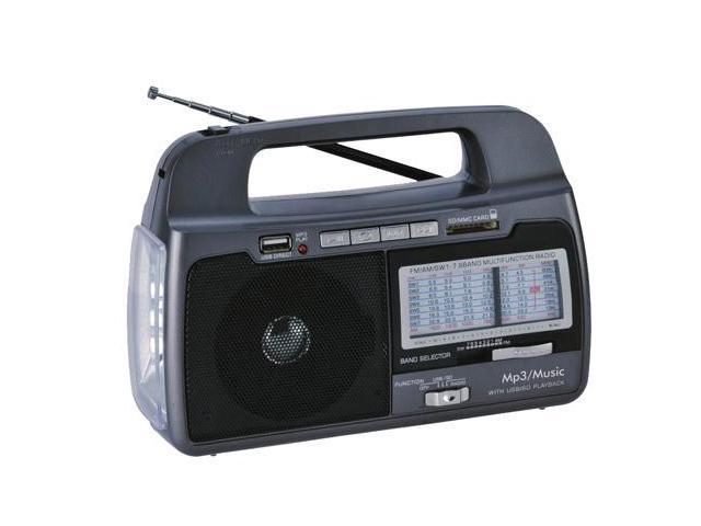 Portable Mini MP3 AM FM Bands Weather Radio w/Built-In USB & SD & Torch Light