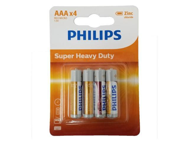 4 Philips AAA Zinc Chloride Triple A Batteries R03 1.5V Super Heavy Duty Battery
