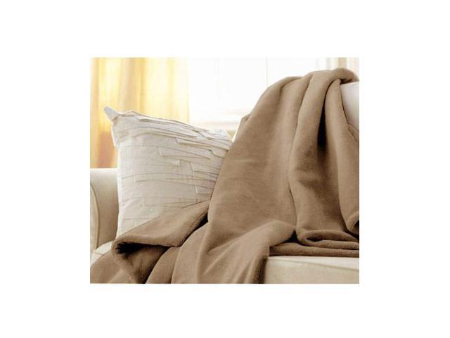 Sunbeam Microplush Electric Heated Throw Blanket in Mushroom Beige