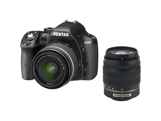 PENTAX K-50 (10905) Black Digital SLR Camera with 18-55mm f/3.5-5.6 and 50-200mm f/4-5.6 Lenses