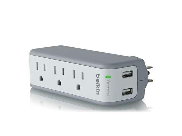 BELKIN BST300 3 Outlets 918 Joules SurgePlus USB Swivel Charger (10 Watts, Combined)