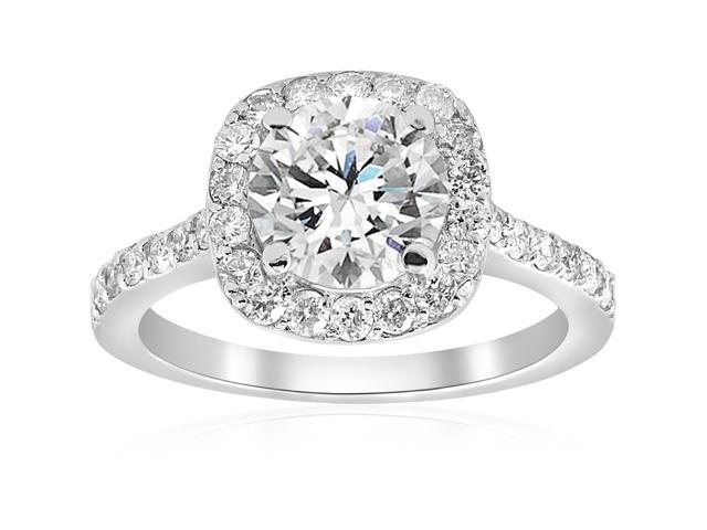 2 ct Cushion Halo Diamond Engagement Ring Vintage Accent 14k White Gold Enhanced