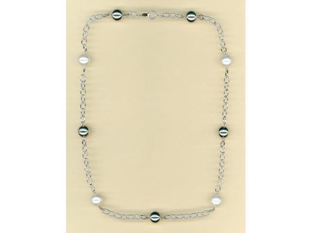 Platinum Plated Pearl & Silver Ball Tin Cup Necklace