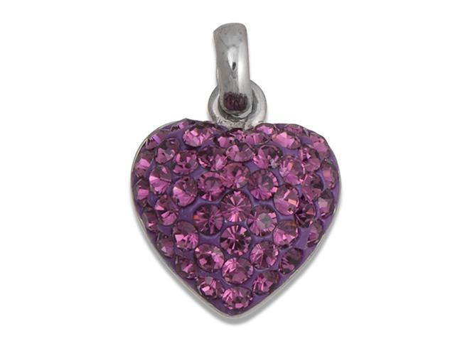 Sterling Silver Purple Crystal Putty Heart Pendant With Chain- Limited Quantity
