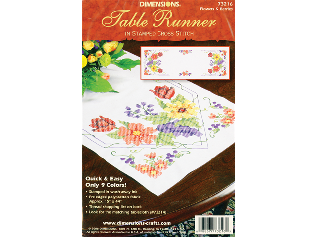 Flowers & Berries Table Runner Stamped Cross Stitch-15