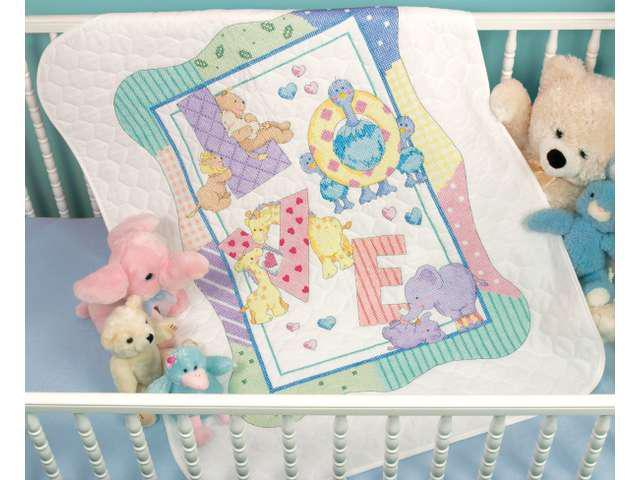 Baby Hugs Zoo Alphabet Quilt Stamped Cross Stitch Kit-34