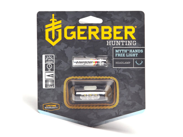 Gerber Hunting Myth Hands Free LED Headlamp W/ Camo Headband and Battery 001259