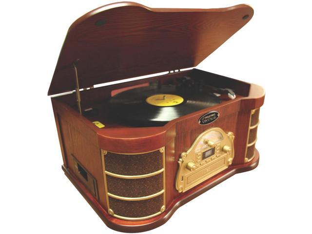 New Pyle Ptcds2ui Classic Style Turntable In Wooden Case W/ Am Fm Cd & Remote