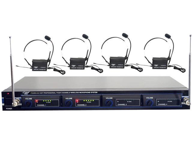 New Pyle Pdwm4400 Rack Mountable 4 Mic Wireless Headset System Pdw-M4400