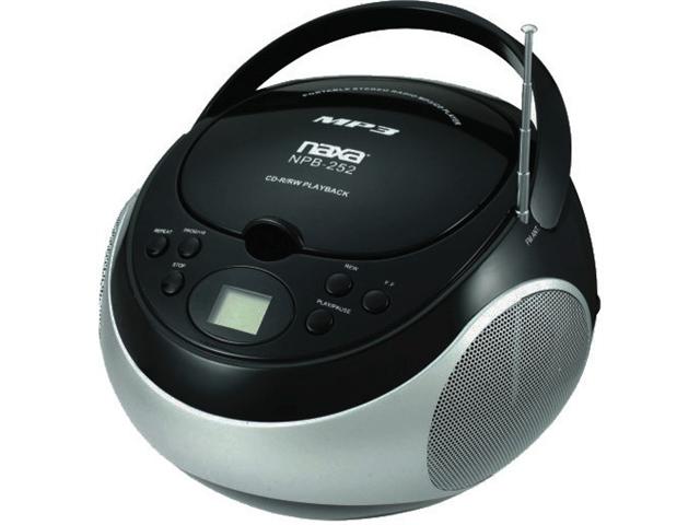 NEW NAXA NPB252BK PORTABLE MP3 CD PLAYER WITH AM AND FM