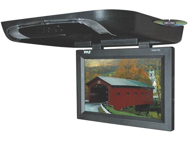 Pyle - 17'' Flip Down Monitor w/ Built in DVD/ SD/ USB Player w/ Wireless FM Modulator & IR Transmitter